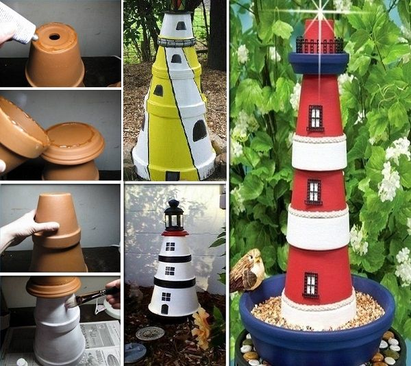 DIY Project: Clay Pot Lighthouse--this would make some nice yard art! www.healthplusyou.com