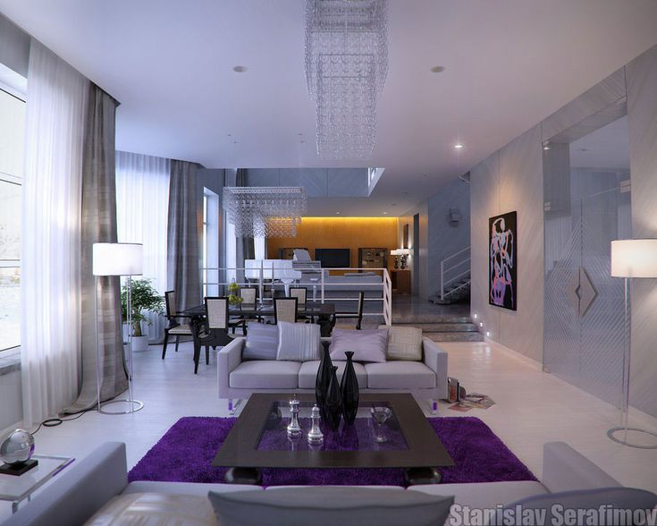 Design Ideas For Modern Living Room: Extraordinary White Marble Living Room  With Purple And Yellow Theme Designed By Stanislav Serafimov