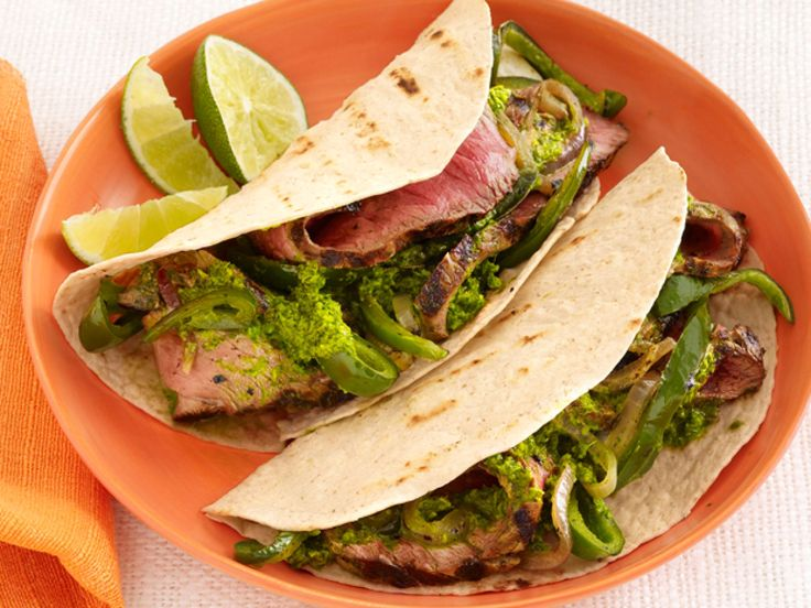 Sunny Anderson's Steak Fajitas with Chimichurri and Drunken Peppers recipe from Sunny Anderson via Food Network
