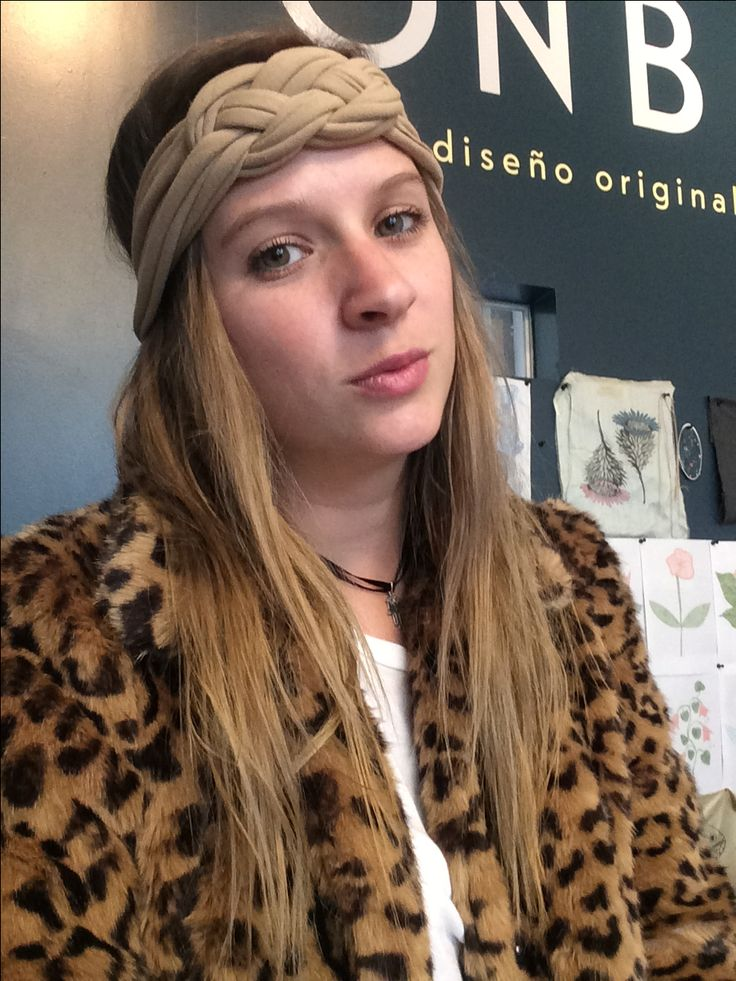 Leopard coat and recycled head band
