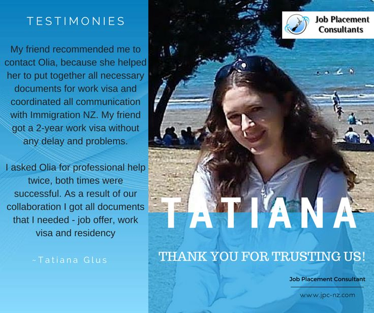 Tatiana received residence recently after getting education and finding the right job. All the best Tatiana, for your future in New Zealand! www.jpc-nz.com