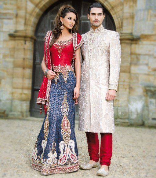 Want this lengha for my wedding with a bit more work done on the skirt! http://www.sonascouture.com/womenswear/bridal-wear/rednavy-brocade-bridal-pd-87.php