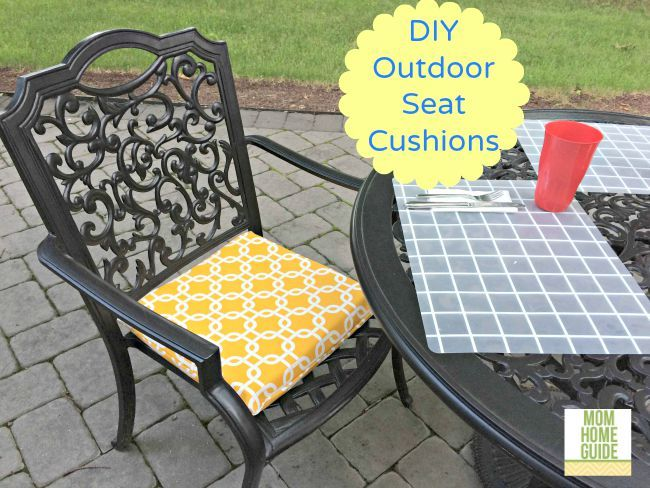 DIY outdoor seat cushions - make outdoor cushions inexpensively by making emvellope cushion covers and stuffing them with inexpensive foam squares.