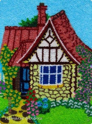 Картина панно рисунок Торцевание Домик в деревне Бумага гофрированная фото 2