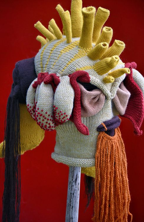 What I'm going to be for Halloween next year.  I better start knitting!    Knitted mask ©Tracy Widdess Tracy Widdess's blog on flickr