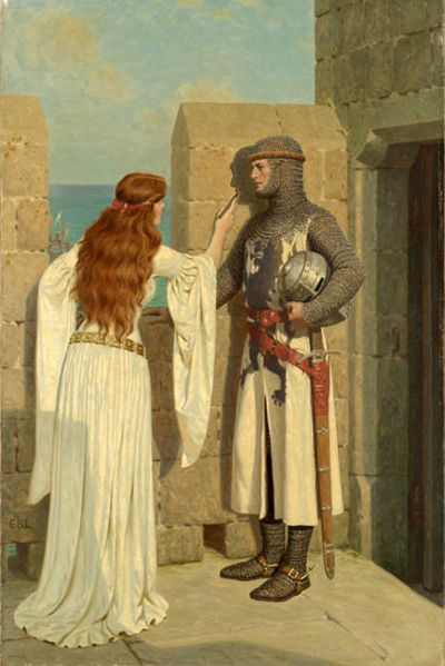 """The Shadow"", c. 1909, by Edmund Blair Leighton (English, 1852-1922). The poignancy of the moment is immediately apparent: a knight, in full chain mail, stands in profile before a castle wall, absolutely still, while his beloved traces the shadow he casts with a piece of charcoal vine. The presence of a ship in the harbor creates the sense of his impending departure - likely to battle - and gives significance to her drawing as possibly the only remembrance she may have of him for some time."