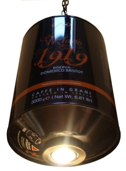 Lampada Barattolo Caffe - Bristot 1919    Lampen gemaakt van lege gebruikte koffieboon horecablikken.