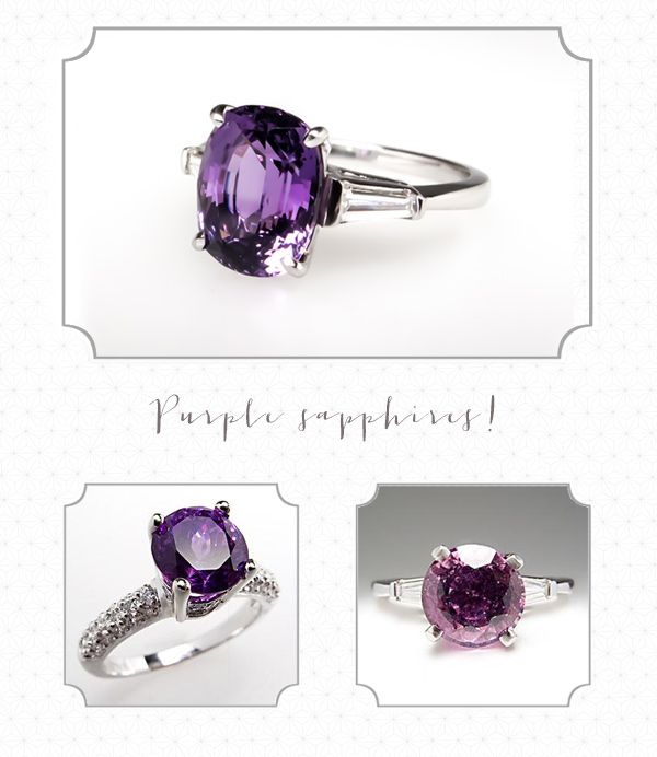 """Purple Sapphire Engagement Rings from EraGem----I'd say """"Yes"""" to a purple engagement ring!!!"""