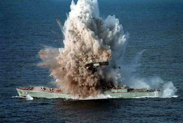 HMS Antelope hit during Falkland War