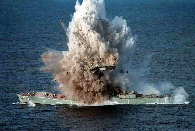 HMS Antelope hit during Falkland War