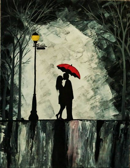 Original Couple In Rain Painting Couple Kissing In By ArtbyRangrez Sillouette Painting