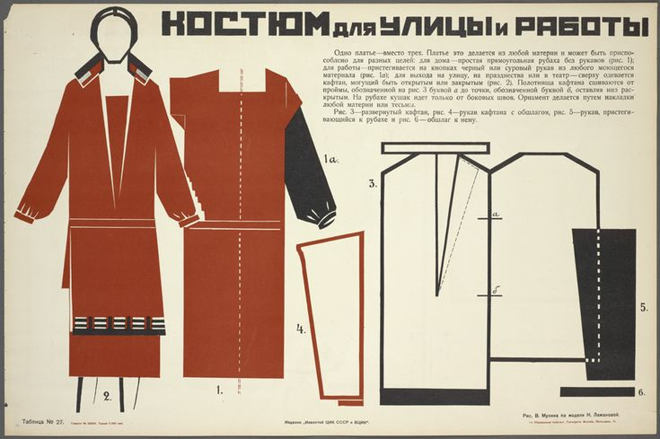 Soviet handbook, Suit for Street and work by V. Mukhina from model of Laman...1925
