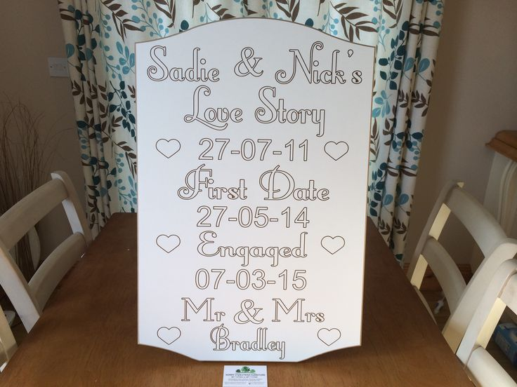 Personalised Love Story Sign for Weddings