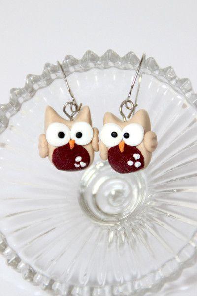 Ohrringe - Eulen Ohrringe, FIMO Schmuck - ein Designerstück von FINAEHST bei DaWanda