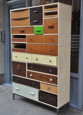 storage unit from salvaged drawers