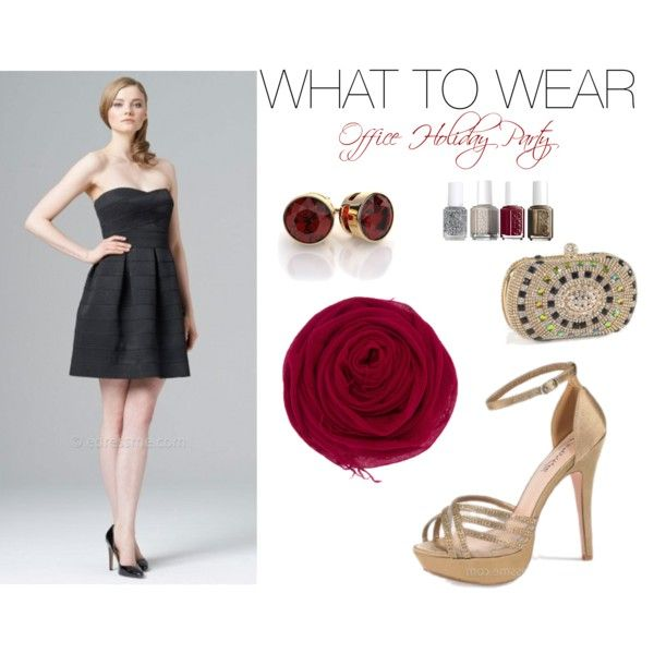 A fashion look from November 2014 featuring multi color purse, 18k gold earrings and holiday nail polish. Browse and shop related looks. Holiday Party Dress - Holiday Office Party