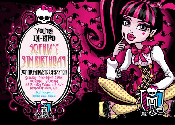 MONSTER HIGH Birthday Invitation, Monster High Party Supplies, Personalized, Printable, DIY, Party Shop, Custom, Draculaura, Frankie Stein