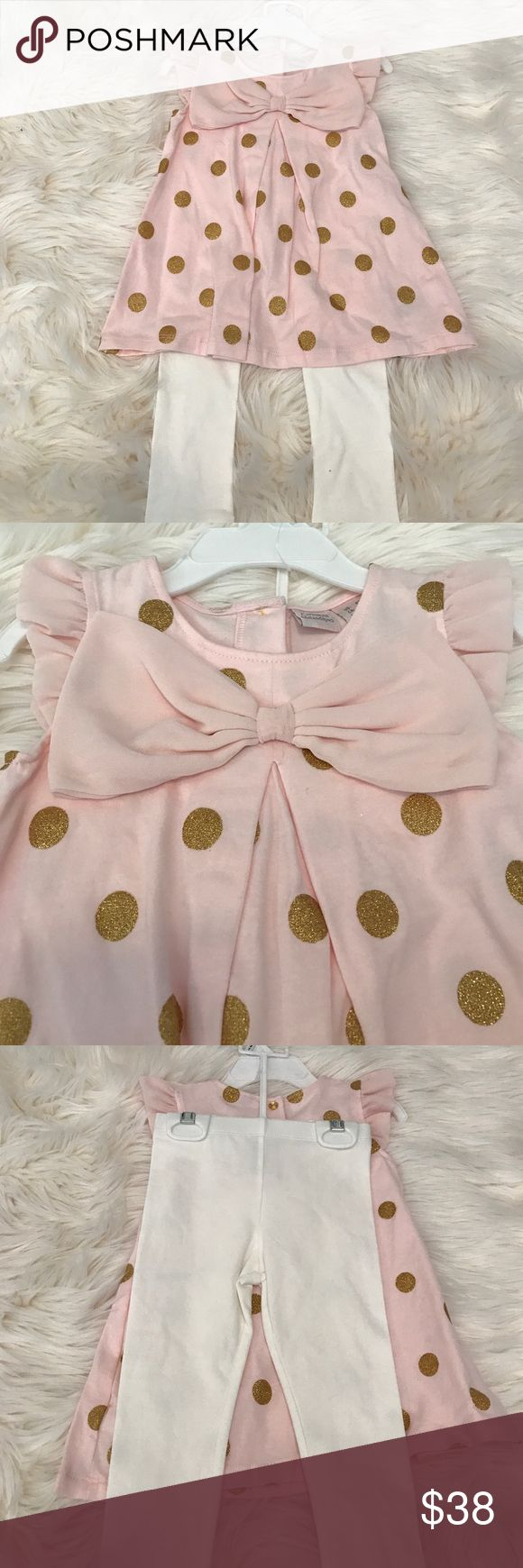 Flash Sale! Catherine Malandrino Tunic Set Catherine Malandrino Pink & Gold Set.  Adorable pink Tunic with bow, gold dots and leggings. Catherine Malandrino Matching Sets