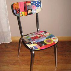 Chaise formica relookée en papier collé multicolore