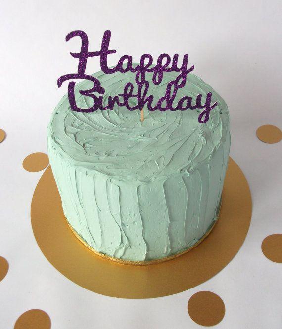 Birthday Cake Topper Glitter Birthday Cake by ChibiChiDesigns