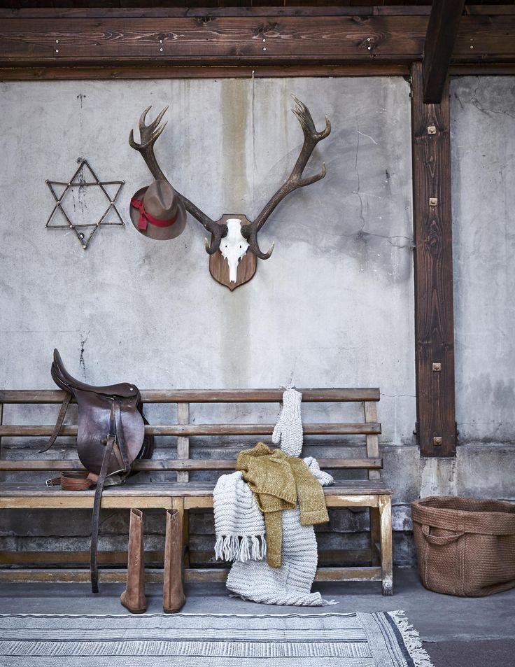 Hal stylen met een bankje en gewei | Decorating the hall with a bench and antlers | Styling Cleo Scheulderman | Fotografie Alexander van Berge | vtwonen december 2015