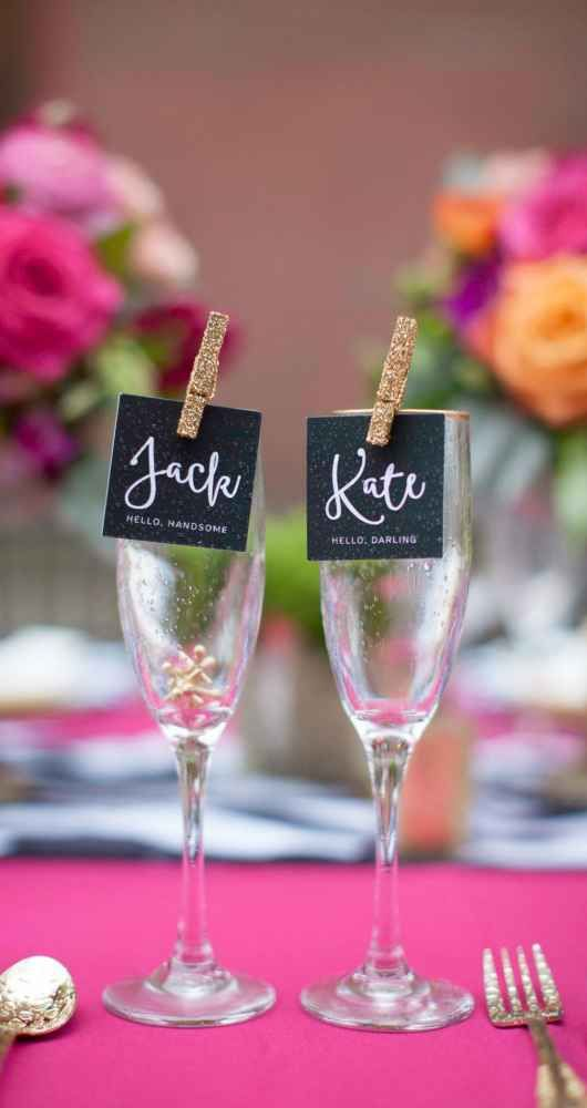 Champagne Glass Place Cards for Reception - Love in Spades: A Kate Spade-Inspired Urban Alley Style Shoot | WeddingDay Magazine