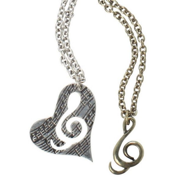 Couple necklace, music necklace, love music necklace, friendship... ($8.99) ❤ liked on Polyvore featuring jewelry, necklaces, long necklace, long pendant, gold and silver necklace, pendant jewelry and set necklace