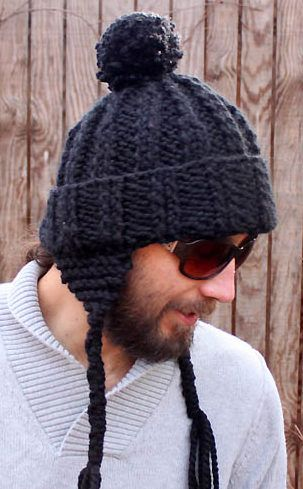 Free Knitting Pattern for Men's Earflap Beanie - Ribbed hat by Gina Michele is a quick knit in super bulky yarn.