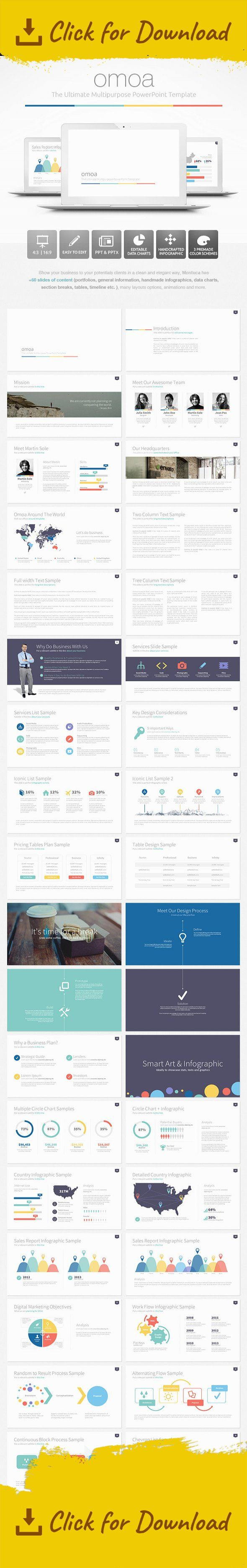 """Show your business to your potentials clients in a clean and elegant way, """"OMOA"""" has over 60 slides of content. Easy to change colors, modify shapes, texts, charts. All shapes are editable via PowerPoint.This is a handcrafted presentation, not based on Master Slides.   3 Premade color schemes are included: Red, Blue and a colored version (""""Maya"""" a custom MS-office color scheme for Omoa)      Features:  6 PPTX files (3 (4:3), 3 (16:9)) 6 PPT files (3(4:3), 3 (16:9)) 2 PSD (Phone Mo..."""