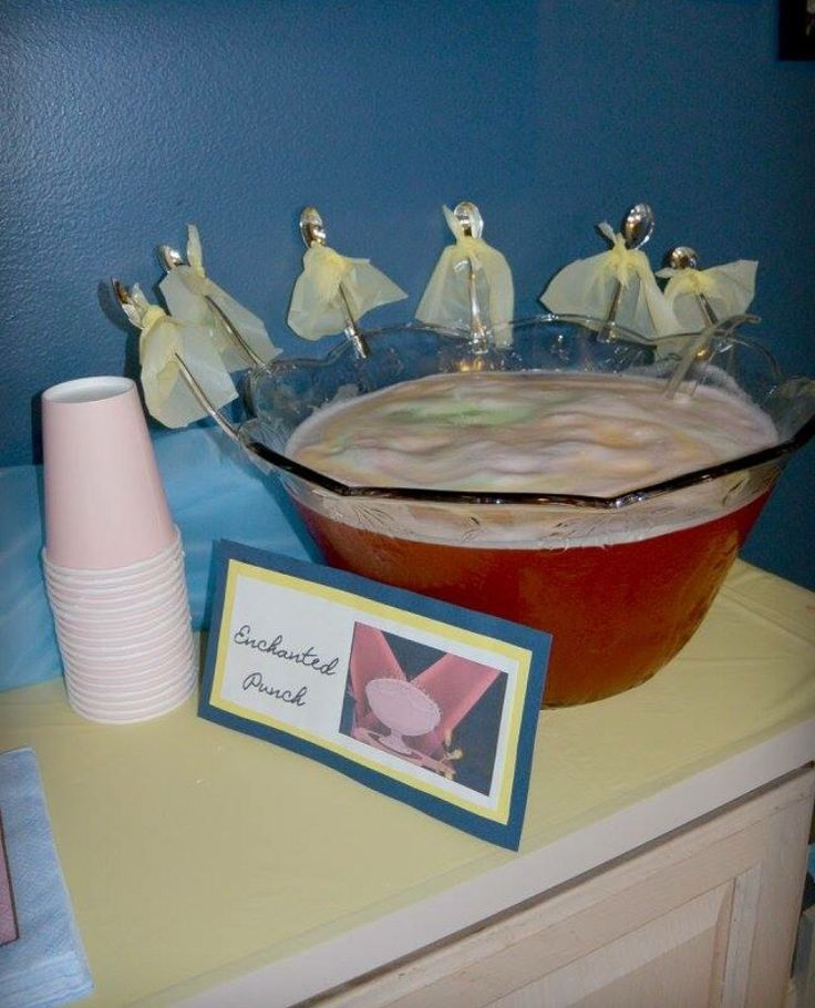 "Beauty and the beast birthday party. enchanted punch bowl. Spoons in the song ""Be Our Guest"""