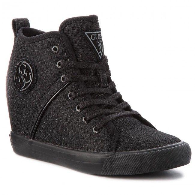 Sneakersy Guess Fljly3 Fam12 Black High Top Sneakers Black Wedge Sneaker
