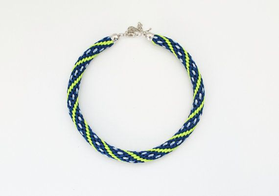 Seattle Seahawks thick braided necklace navy green by elfinadesign