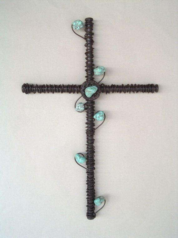 Turquoise Embellished Wire Wrapped Wall por CoalCreekCrossing