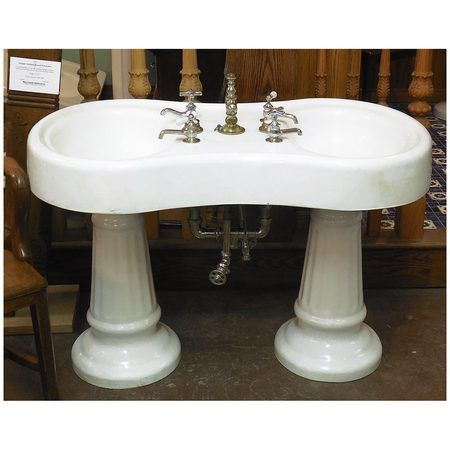 Sharing is caring!  P14003 - Antique Double Basin Double Pedestal Barbershop Sink #https://www.pinterest.com/munlimited/