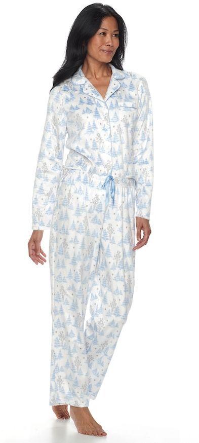 Croft & Barrow Women's Pajamas: Fleece Top & Pants 2-Piece PJ Set