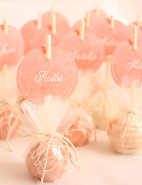 cake pops!! as name cards ..how cool