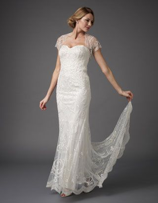 Ellis Bridal Dress & Shrug. I love this lace dress with the pretty lace sleeves and train