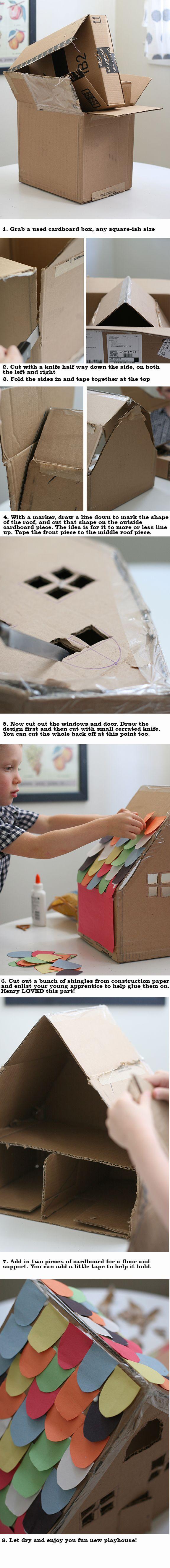 Van doos tot huis met kleurrijk dak in een 11 foto's, dat is een leuk knutselproject voor een regenachtige zondag!