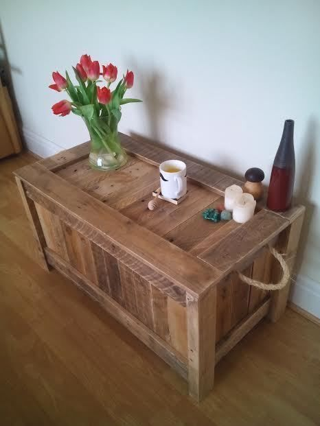 Perfect Rustic Wooden Blanket Box Vintage Coffee Table Pallet Storage Box Chest  Handmade