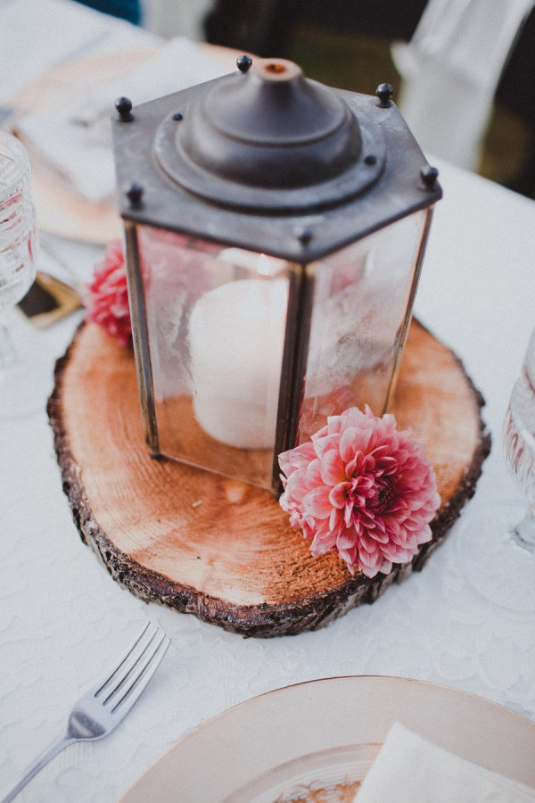 Raise lantern with a wood slab