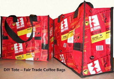 DIY Tote Bag With Reused Fair Trade Coffee Bags - Mosaic