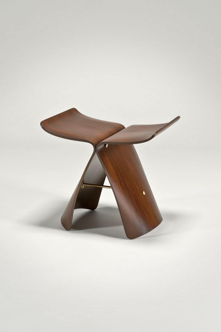 """Artist/Designer: Sori Yanagi b. 1915 - 2011 Tokyo Title: Butterfly Stool Medium: Bent plywood, Rosewood, brass Dimensions: 15.25""""h x 16.5"""" x 12.25"""" Manufacturer: Produced by the Vitra Design Museum. D"""