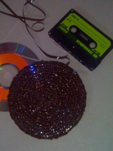 Crochet cd over old music