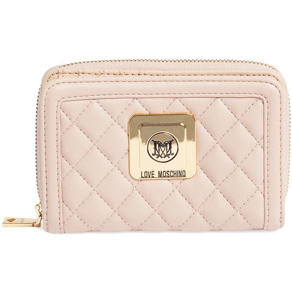 Love Moschino Women's Faux Leather Short Zip Around Wallet -... (4.545 RUB) ❤ liked on Polyvore featuring bags, wallets, unknown, faux leather bag, pink bag, vegan wallet, vegan leather wallet and beige wallet