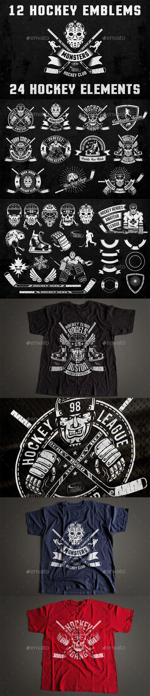 Car body sticker design eps - Hockey Logo On Dark Templates Psd Vector Eps