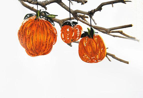 Set of 3 Quilled Halloween Pumpkin ornaments Paper Pumpkin