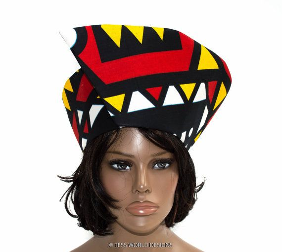 Tribal print Traditional African hat/ Wrap by TessWorldDesigns