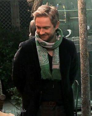 Uh so Martin Freeman wearing a scarf definitely yes.
