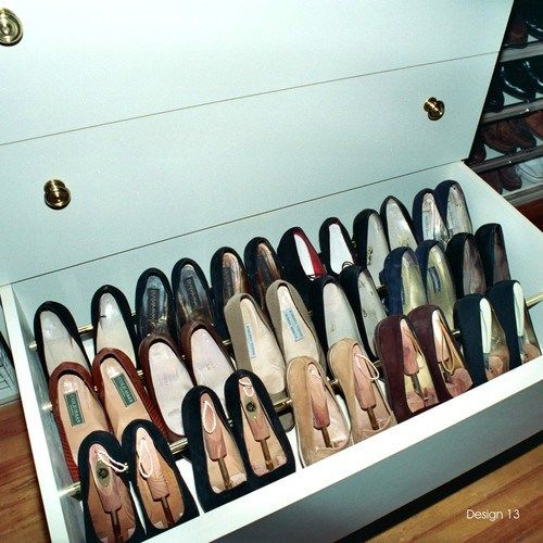 Shoe Organizing Ideas | Helena A Personal Organizer.  Tension rods inside a drawer. Not enough dressers? use old drawer under the bed