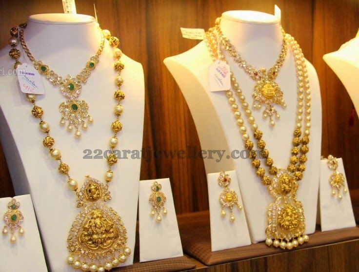 Jewellery Designs: Temple Jewellery with Pachi Setting